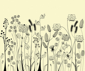 Hand drawing flowers and herbs collection