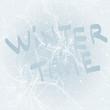 Winter time / Frost on the window like flower Poinsettia
