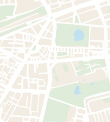 Abstract city map vector illustration with streets, parks
