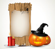 Halloween background with wooden sign