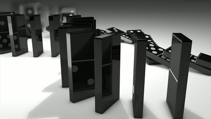 Dominos effect 3d animation.