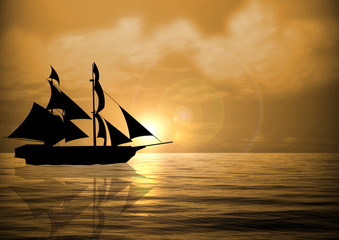 Sail Ship at Sunset
