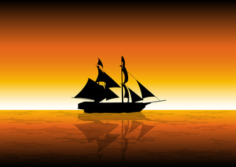 Stock Vector illustration of Sail Ship at Sunset