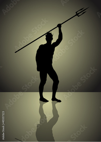 Stock Vector illustration of Neptune God