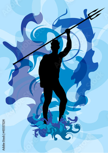 Stock Vector illustration of Neptune God 2