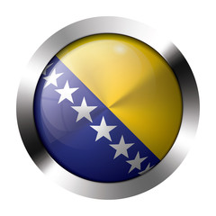 Metal and glass button - flag of bosnia and herzegovina - europe