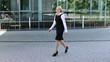 Business people walking as pedestrians