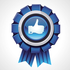 Vector like sign on glossy award icon