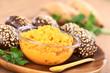 Sweet potato spread in bowl with sesame-wholegrain buns
