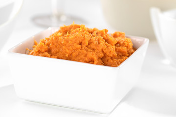 Sweet potato spread in white bowl (Selective Focus)