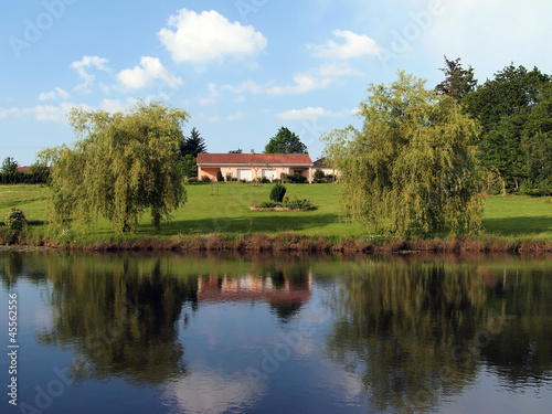 House reflected in a pond