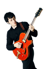 Guitar electric man guitarist Playing