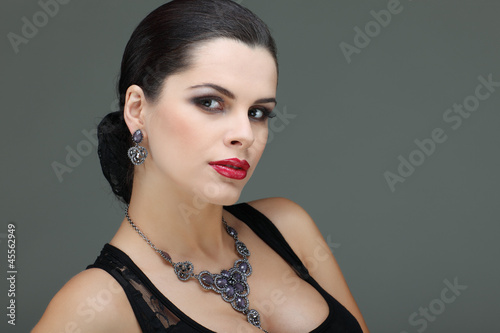 portrait elegant sexual woman in fashion style