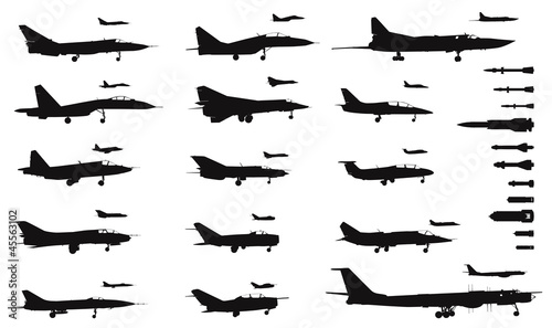 Detailed  military aircrafts and weapon set. Vector silhouettes