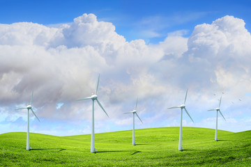 modern white wind turbines