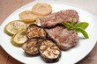 Veal Medallions with Zucchini,Eggplant and onion