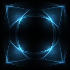 glowing abstrcat blue patterns on dark background