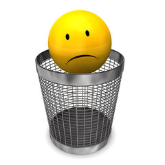 Wastebasket Yellow Sadly Smiley