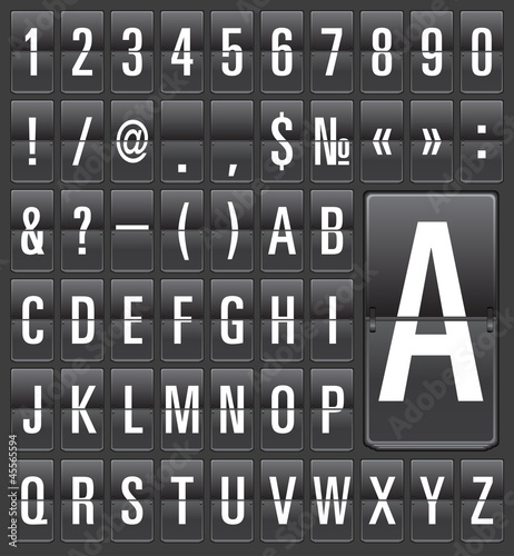 Set of letters on a mechanical timetable. Vector.