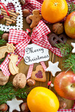 Seasonal greetings with christmas cookies and fruit