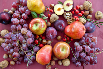 Fresh ripe autumn fruit