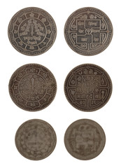Nepalese Coins Isolated on White