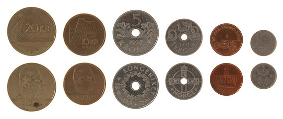 Norwegian Coins Isolated on White