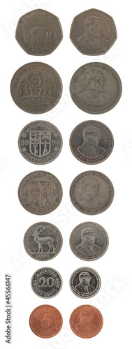 Mauritian Coins Isolated on White