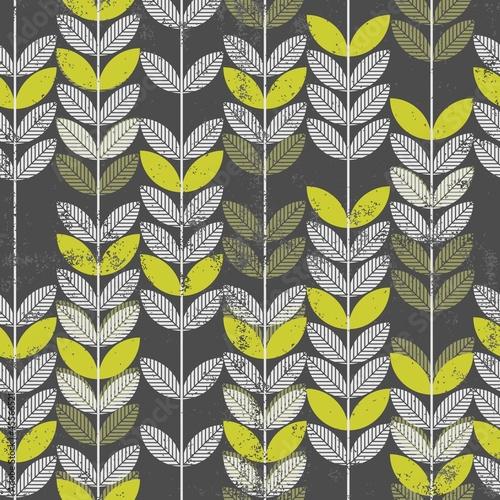 retro roślinny deseń szare i zielone liście na ciemnym tle - 45566521