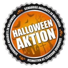 """Button """"Halloween-Aktion"""" Orange/Schwarz/Silber"""