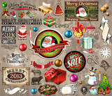 Fototapety 2013 Christmas design elements: vintage labels. ribbons,...