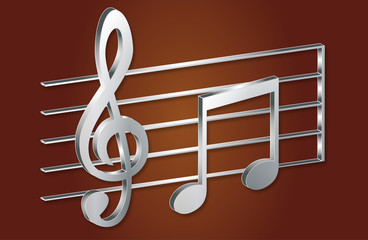 Musical Notes in 3D, Stylish Icons