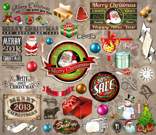2013 Christmas design elements: vintage labels. ribbons,...