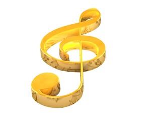 3D golden music key on white background