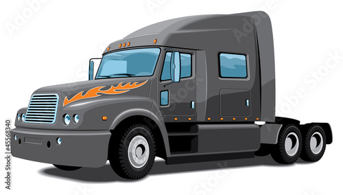 Vector isolated black semi truck