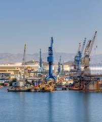 Cranes in a shipyard
