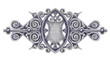Ornated silver vintage decor with heraldic shield.