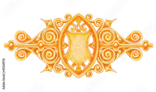Ornated gold vintage decor with heraldic shield.