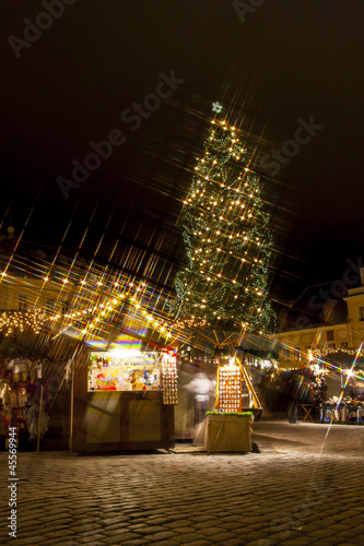Christmas market around fir tree in Tallinn