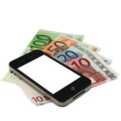 Smartphone weiß auf Geldscheinen