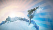 Snowboarder springt aus Halfpipe ins Bild