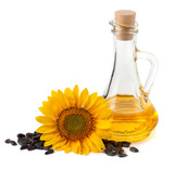 Sunflower oil with flower and seeds. On a white background