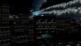 Night city lights and falling stars
