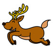 Reindeer hand writing cartoon. vector