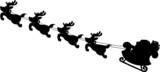 Illustrations of Santa's Sleigh silhouettes - 45573544