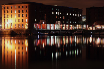 Reflections in the Albert Dock at night