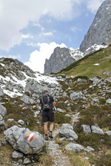 a hiker  in alpen