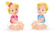 Baby girl and baby boy isolated on white