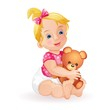 Cute baby girl holding teddy bear isolated on white