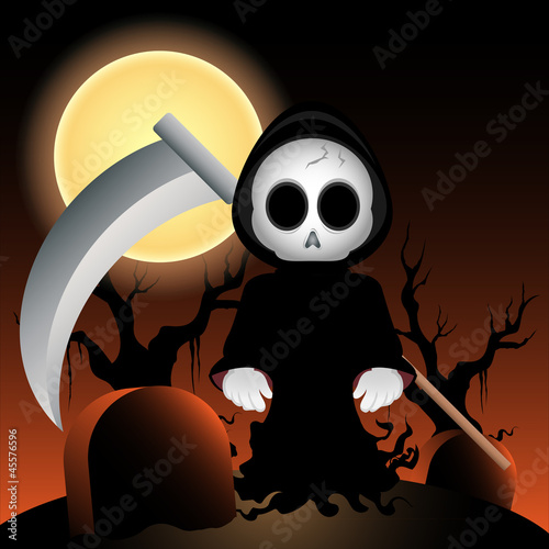 vector grim reaper at night